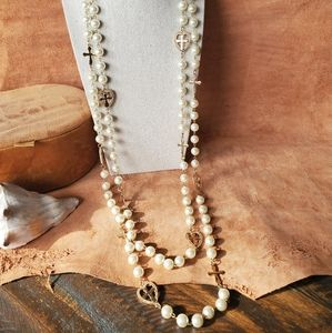 Gorgeous Gold chain pearl beaded necklace
